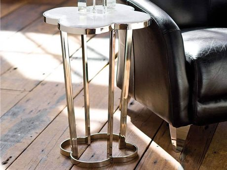 Regina Andrew Clover Marble with Polished Nickel 18'' Wide End Table REG301009PN