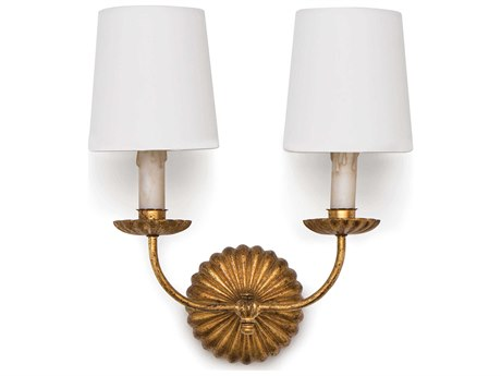 Regina Andrew Clove Antique Gold Leaf Two-Lights 14'' Wide Wall Sconce