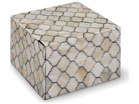 Regina Andrew White/Natural Small Mosaic Quatrefoil Box REG201178