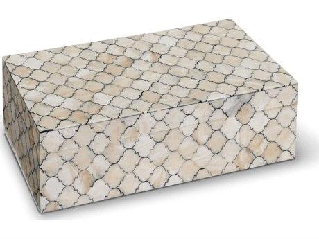 Regina Andrew White/Natural Large Mosaic Quatrefoil Box REG201179