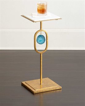 Regina Andrew Gold Leaf with Teal Agate 10'' Wide Square Display Pedestal Table