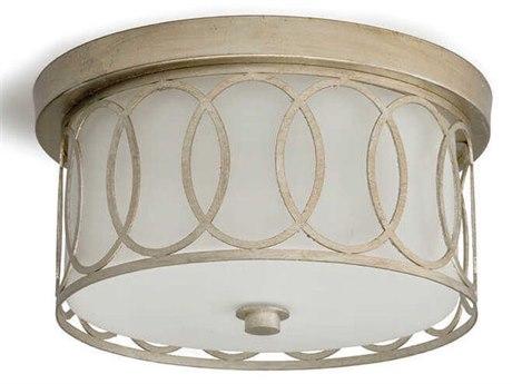 Regina Andrew Fusion Silver Leaf Two-Lights 10'' Wide Flush Mount Light