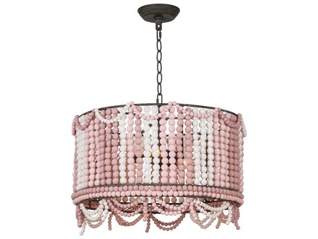 Regina Andrew Malibu Drum Weathered Pink Three-Lights 20'' Pendant Light
