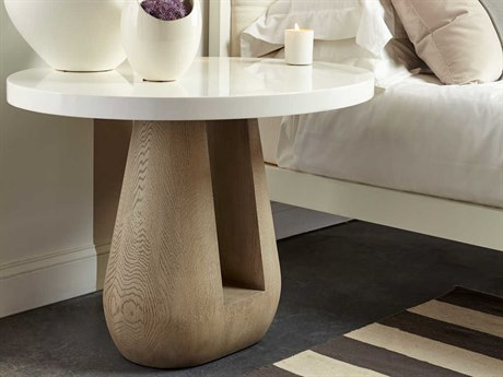 Sonder Distribution Accent Snow White Lacquer with Taupe Oak 40''W x 33''D Oval Foyer Table RD1401002