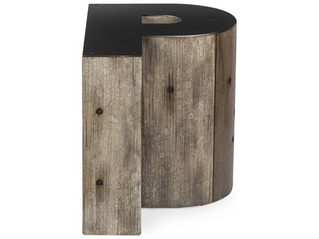 Sonder Distribution Alphabet Gunmetal with Weathered Pallet 15''W x 20''D Letter-P End Table
