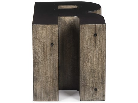 Sonder Distribution Alphabet Gunmetal with Weathered Pallet 16''W x 20''D Letter-R End Table