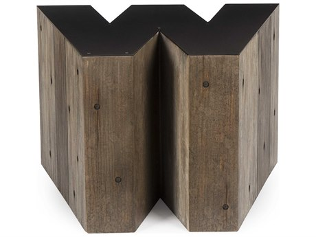 Sonder Distribution Alphabet Gunmetal with Weathered Pallet 26''W x 20''D Letter-W End Table