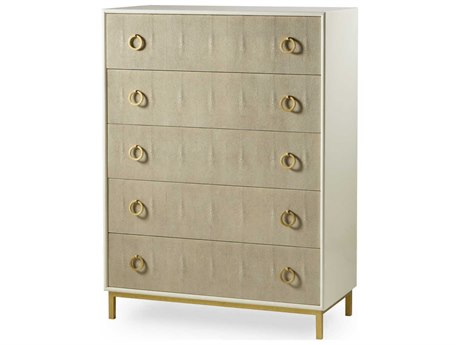 Sonder Distribution Amanda Cream Lacquer with Taupe Faux Shagreen & Satin Brass 40''W x 19''D Rectangular Chest of Drawers