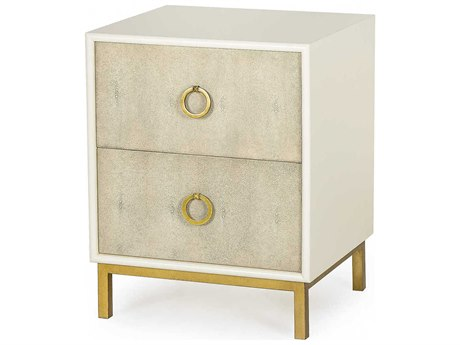Sonder Distribution Amanda Cream Lacquer with Taupe Faux Shagreen & Satin Brass 20''W x 18''D Rectangular Two-Drawers Nightstand