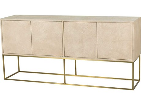 Sonder Distribution Amelia Faux Linen Shagreen with Satin Brass 72''W x 18''D Rectangular Credenza RD0804102