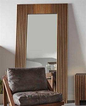 Resource Decor Angelica Ebonized Black with Rustic Brown Oak Strips 45''W x 87''H Rectangular Floor Mirror RD0708022