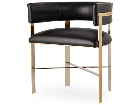 Resource Decor Art Black & Mirrored Brass Dining Arm Chair RD1402035