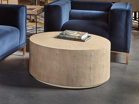 Sonder Distribution Ayden Cream Shagreen on Textured Resin 36'' Wide Round Coffee Table RD0801075