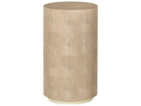 Sonder Distribution Ayden Ivory Faux Shagreen 14'' Wide Round Drum Table