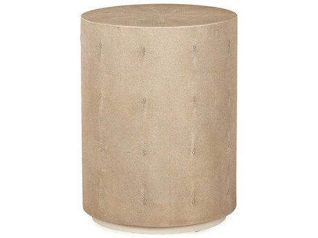 Sonder Distribution Ayden Ivory Faux Shagreen 18'' Wide Round Drum Table RD0801098