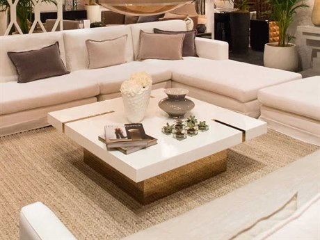 Resource Decor Band Snow Lacquer with Mirrored Brass 47'' Wide Square Coffee Table RD1401049