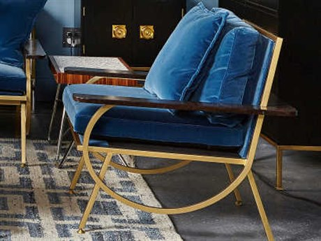 Resource Decor Boyd Blue & Antique Brass Accent Chair RD1302077