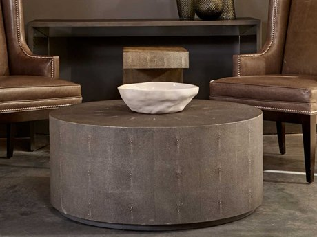 Sonder Distribution Braden Charcoal Grey Faux Shagreen 36'' Wide Round Coffee Table RD0801074
