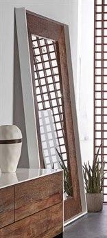 Resource Decor Cardosa White Acrylic Lacquered & Natural Brown Reclaimed Peroba 45''W x 87''H Rectangular Floor Mirror