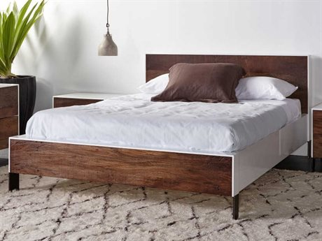Sonder Distribution Cardosa White Acrylic Lacquered And Natural Brown Reclaimed Peroba Wood Queen Size Platform Bed