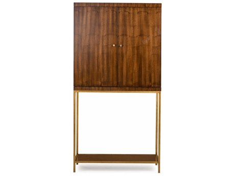Resource Decor Copeland Walnut with Satin Brass Bar Cabinet RD0804094