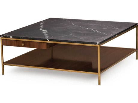 Sonder Distribution Copeland Black Nero Marquina Marble with Walnut & Satin Brass 42'' Wide Square Coffee Table RD0801072