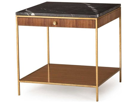 Sonder Distribution Copeland Black Nero Marquina Marble with Walnut & Satin Brass 20'' Wide Square End Table