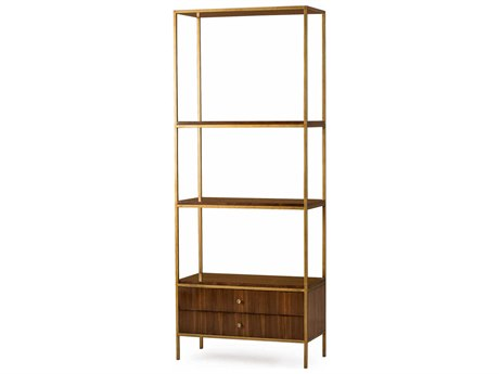 Resource Decor Copeland Walnut with Stain Brass Tower Etagere RD0804089