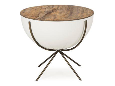 Resource Decor Danica Natural & White Lacquer 24'' Wide Round Pedestal Table