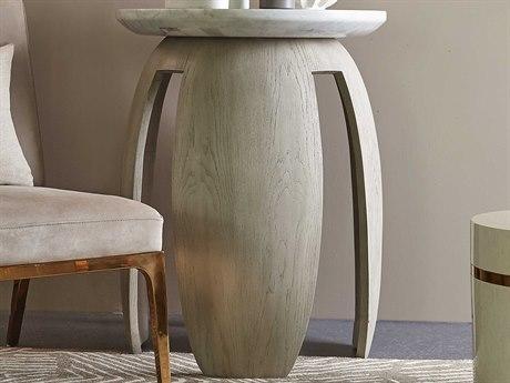 Sonder Distribution White Carrara Marble / Taupe Oak 23'' Wide Round Drum Table