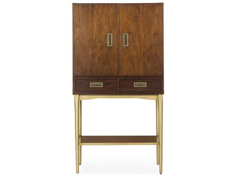 Resource Decor Durham Robust Walnut with Satin Brass Bar Cabinet RD0804035