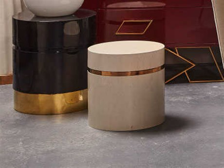 Sonder Distribution Ella Cream Birdseye Maple with Mirrored Brass 14'' Wide Round Drum Table RD1401032
