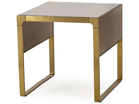 Sonder Distribution Evans Bronze Glass & Brass Stainless Steel 24'' Wide Square End Table
