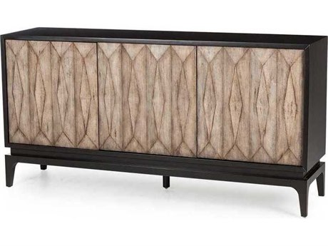 Resource Decor Finn Polished Concrete with Black Lacquer 73''W x 18''D Rectangular Credenza