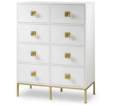 Resource Decor Formal Eloquent White Lacquer with Brass Accent 42''W x 20''D Rectangular Chest of Drawers RD1304116