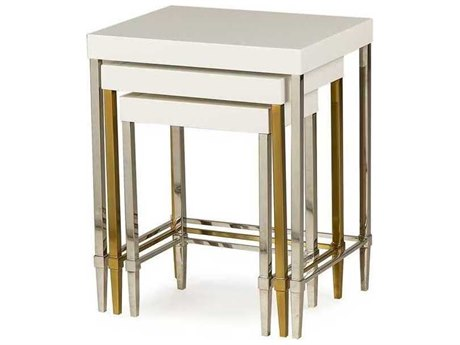 Resource Decor Formal Ivory Lacquer 19''W x 15''D Rectangular Nesting Table RD1301084