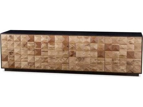Resource Decor Frank Natural Reclaimed French Oak & Bronze 87''W x 19''D Rectangular Credenza