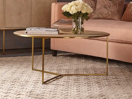 Resource Decor Gwen Sunburst Faux Shageen with Satin Brass 40'' Wide Round Coffee Table