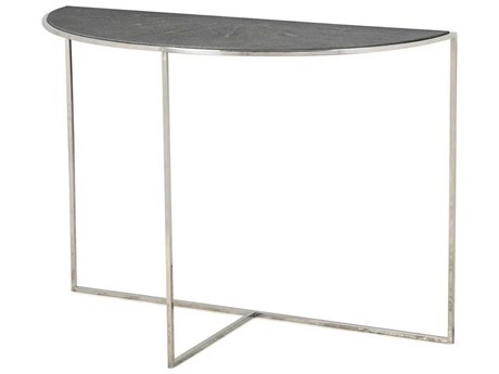 Resource Decor Gwen Charcoal Faux Shagreen with Stainless Steel 42''W x 18''D Demilune Console Table
