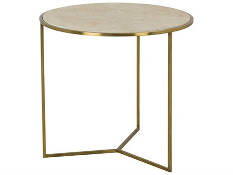 Sonder Distribution Gwen Sunburst Faux Shagreen with Satin Brass 26''Wide Round End Table