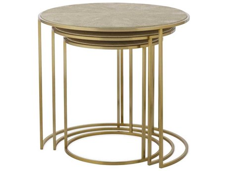 Resource Decor Gwen Sunburst Faux Shageen with Satin Brass 26'' Wide Round Nesting Table