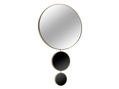 Sonder Distribution Harrison Black Mirror & Mirrored Brass 36''W x 49''H Round Wall Mirror
