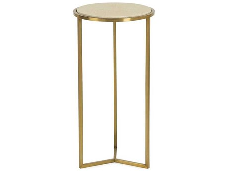 Resource Decor Holly Linen Faux Shagreen with Satin Brass 12'' Wide Round End Table