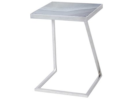 Sonder Distribution Jaxson Taupe Agate Printed Glass with Nickel 16'' Wide Square End Table