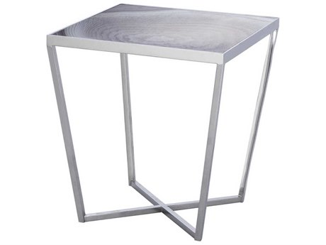 Resource Decor Jaxson Taupe Agate Printed Glass with Nickel 22'' Wide Square End Table