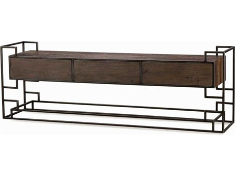 Sonder Distribution Juana Peroba with Black Steel 84''W x 18''D Rectangular Console Table