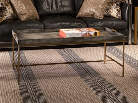 Sonder Distribution Levi Charcoal Grey Vellum with Stain Brass 46''W x 22''D Rectangular Coffee Table