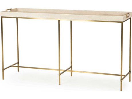 Sonder Distribution Lexi Ivory Faux Shagreen with Stain Brass 54''W x 16''D Rectangular Console Table RD0801085