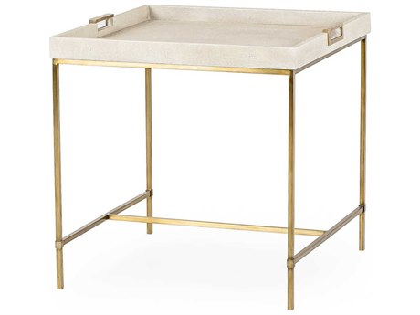 Resource Decor Lexi Ivory Faux Shagreen with Stain Brass 24'' Wide Square End Table