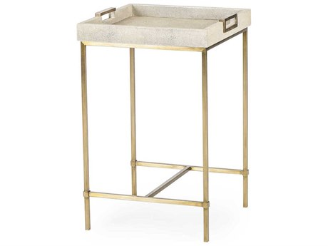 Resource Decor Lexi Ivory Faux Shagreen with Stain Brass 16'' Wide Square End Table